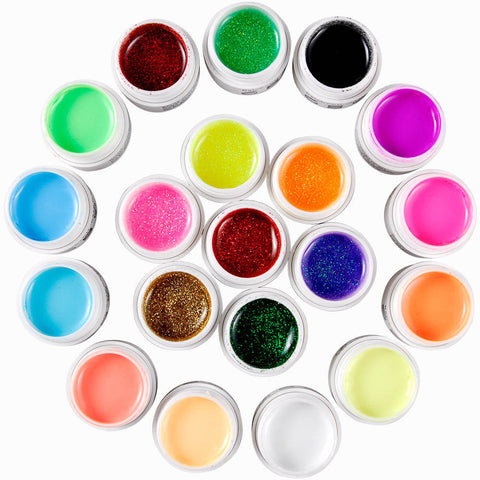 20 Colours Solid Glitter UV Gel Nail Polish Mix - Fräulein3°8 - 1