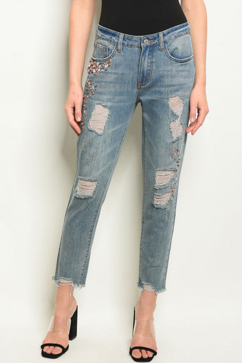 32019-Ripped Denim Jeans