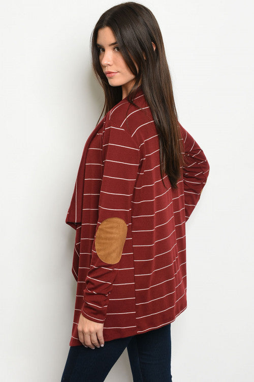 121019-Wine Stripe Cardigan-set