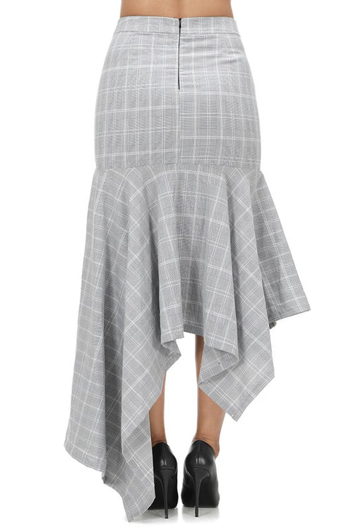 11619-Checker Assymetric Skirt