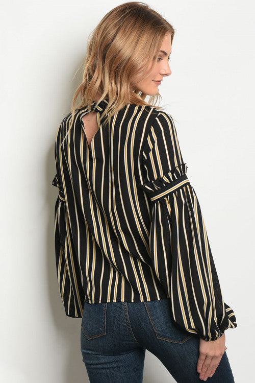 2619-Blk Mustard Stripe Top