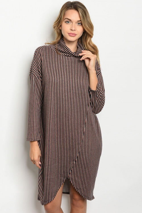 102319- Multi Color Crossover Sweater Dress
