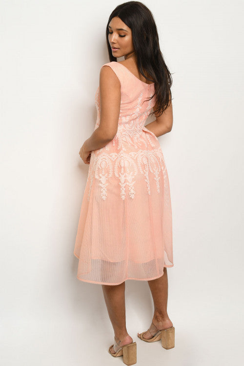 31120-Peach embroidery dress