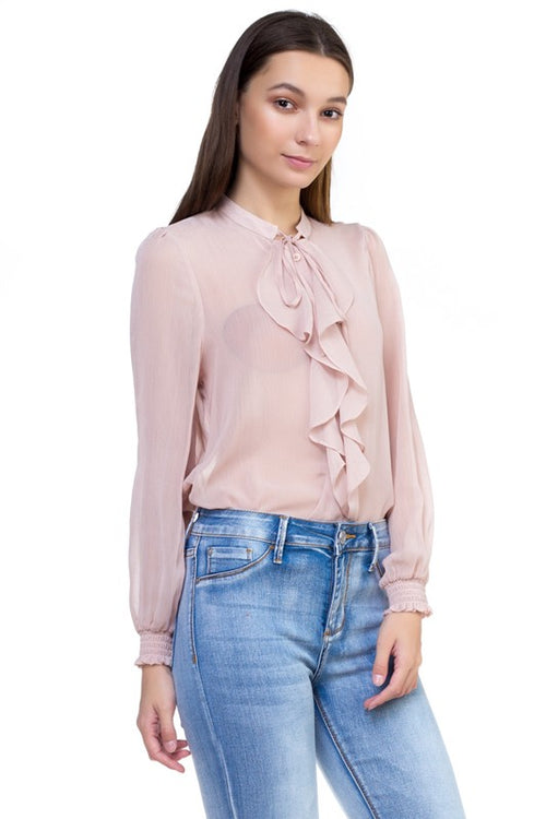 12319-Sheer Ruffle Blouse
