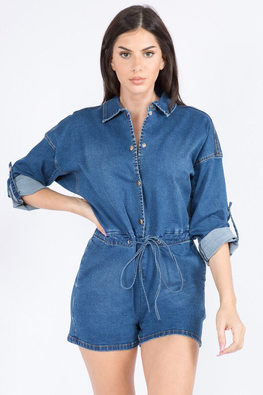 41421- CURVY Denim Chain Romper