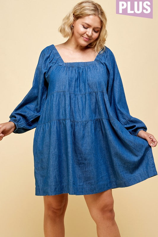 41421- CURVY Denim Tier Babydoll Dress