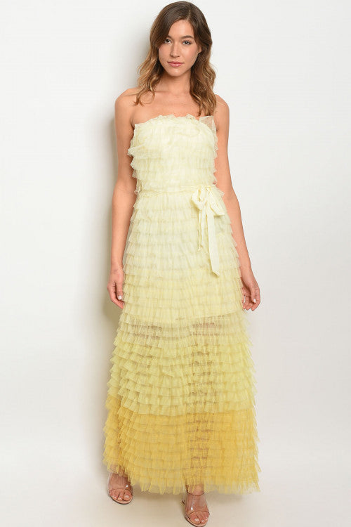 31120-Yellow Ombre Maxi Dress
