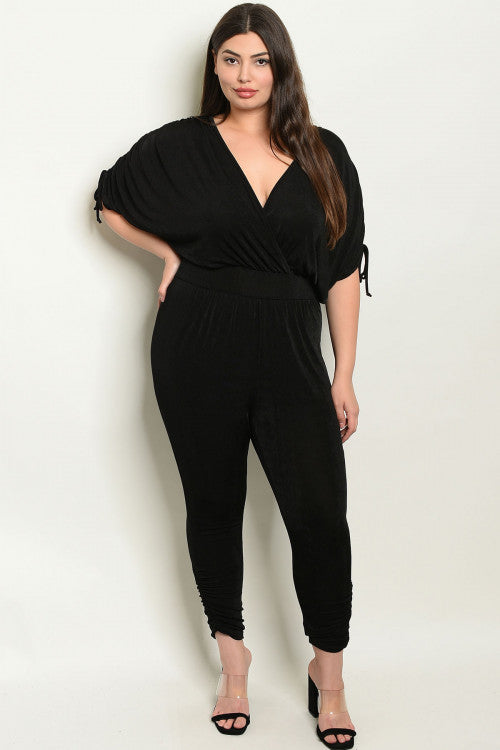 101019- CURVY Black Party Jumpsuit