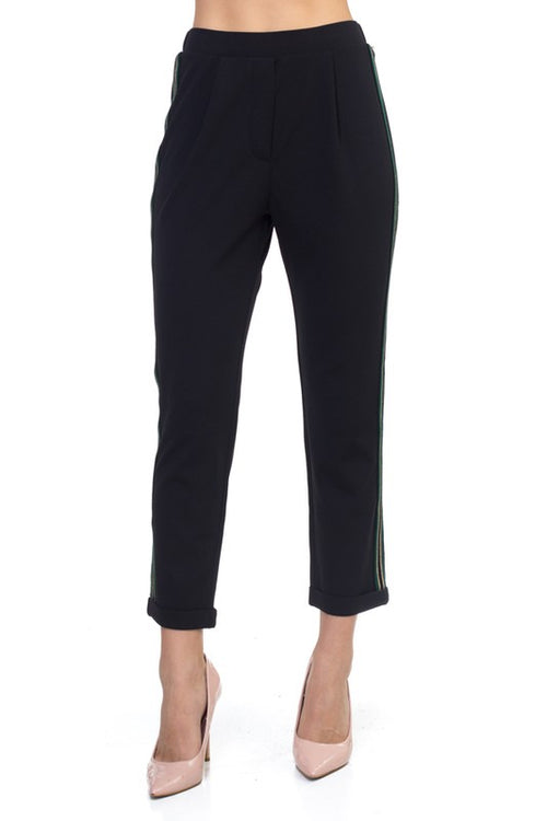 121918- Black Shimmer Stripe Pants