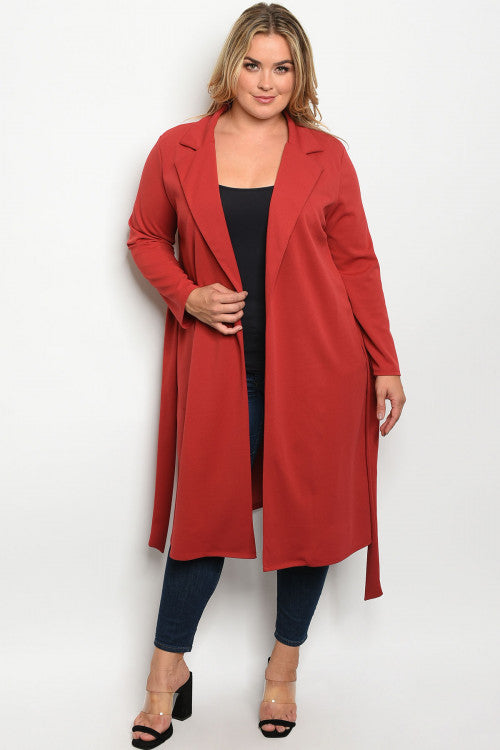 103019-Curvy Rust Trench Jacket