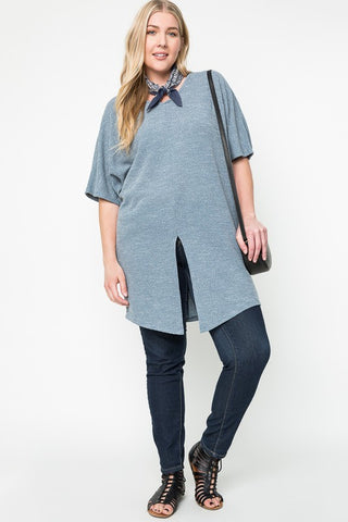 61219-Dusty Blue Off the Shoulder Tunic