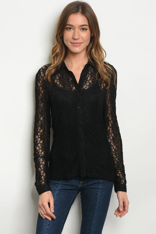 13019-Black Lace Top