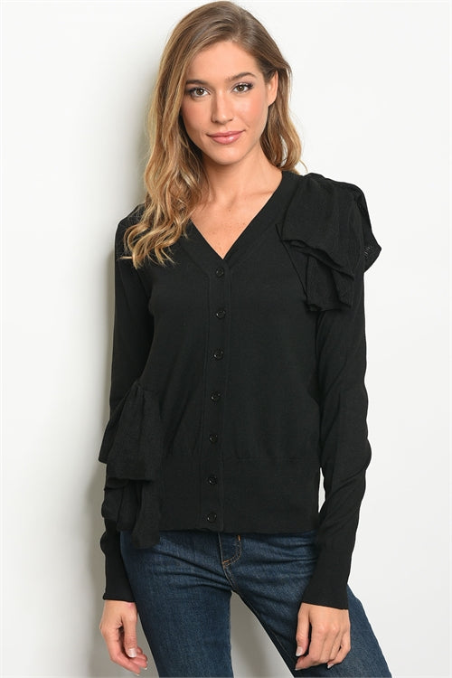 102319- Black Ruffle Cardigan