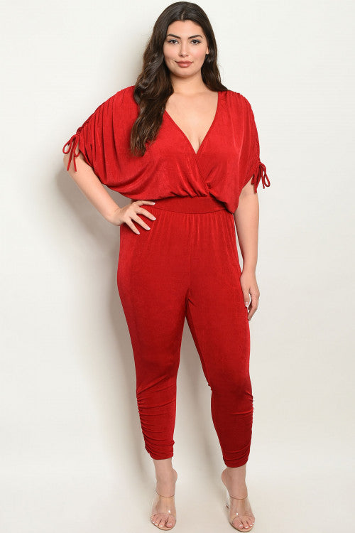 10219- CURVY Red Party Jumpsuit