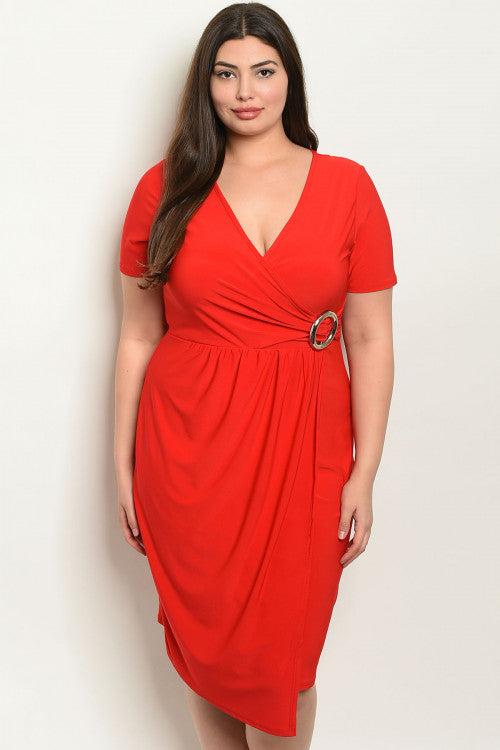 10219- CURVY Red Buckle Dress
