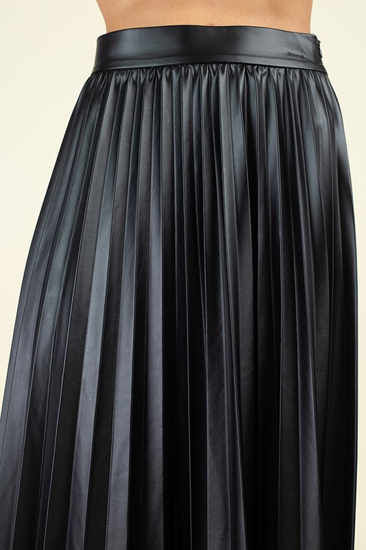 121019-Leather Pleated Skirt