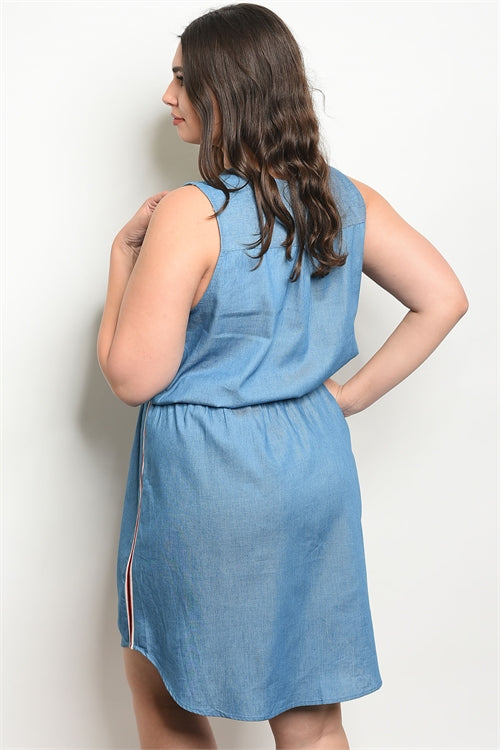 41719-Blue Denim Dress(CURVY)