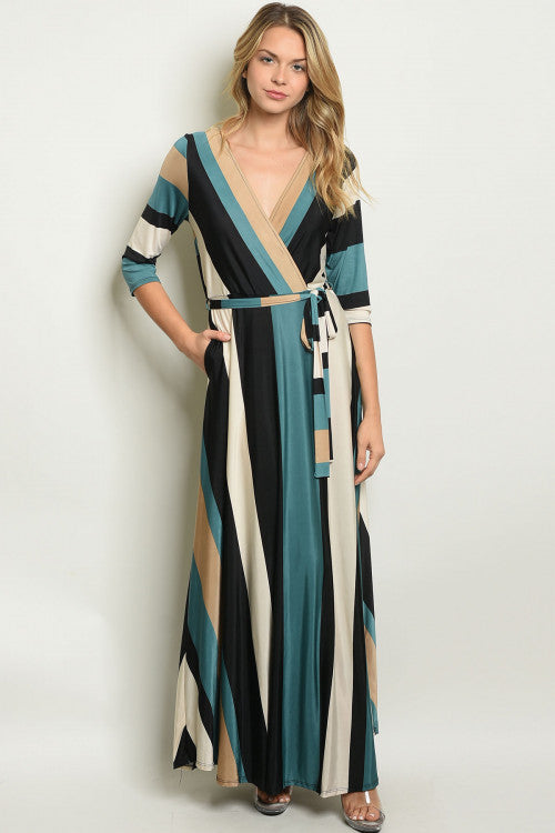 21319- Teal Stripe Maxi w/ Pockets