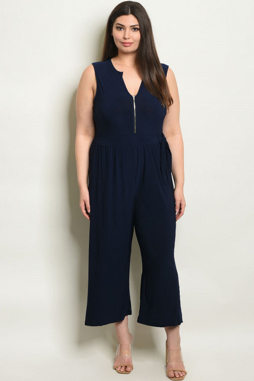 41719-Navy Jumpsuit(CURVY)