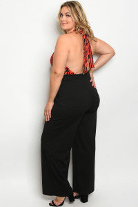21420-Curvy Red Zebra Jumpsuit