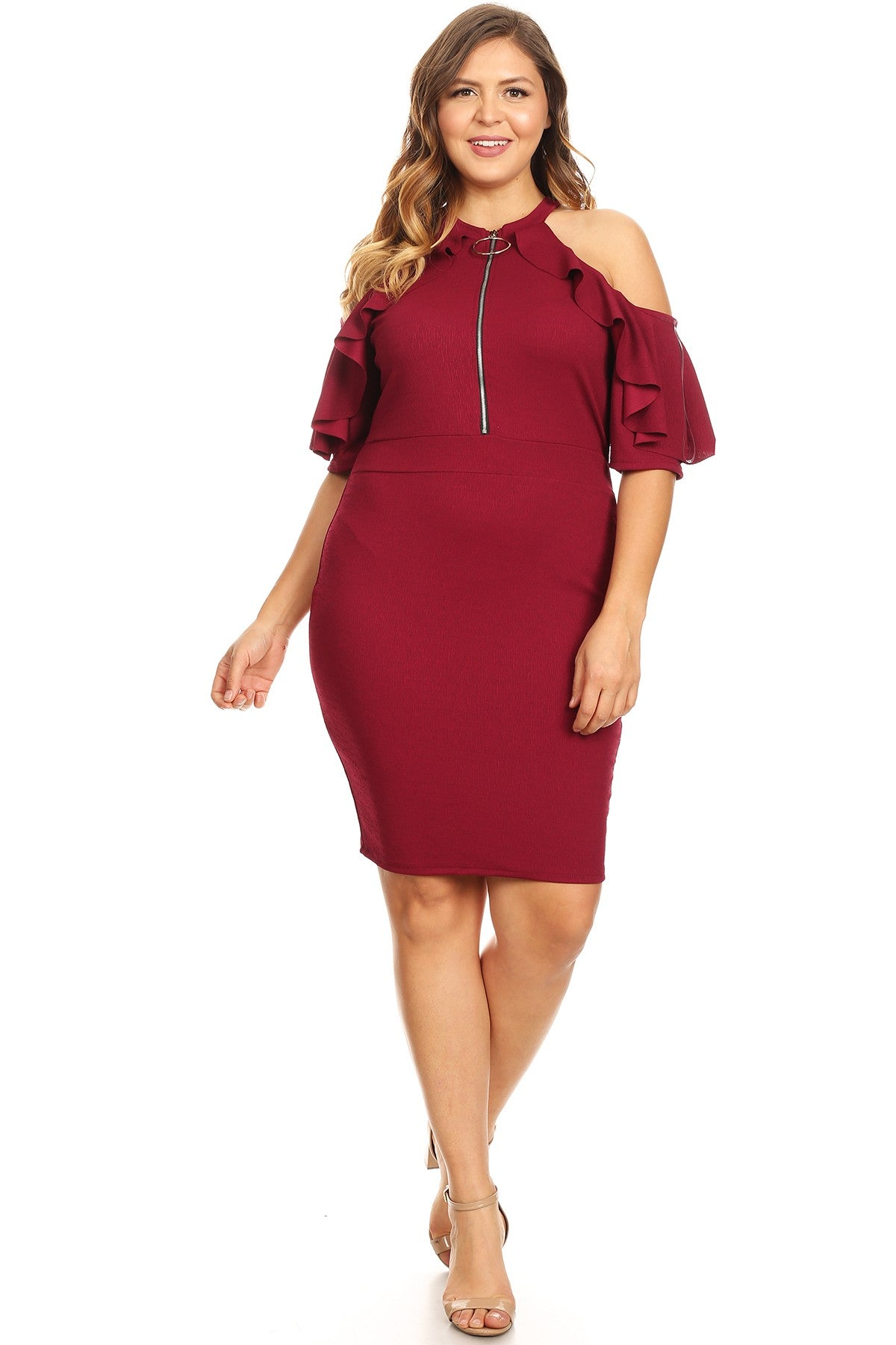 13019- Magenta/Plum Zipper Ruffle Dress