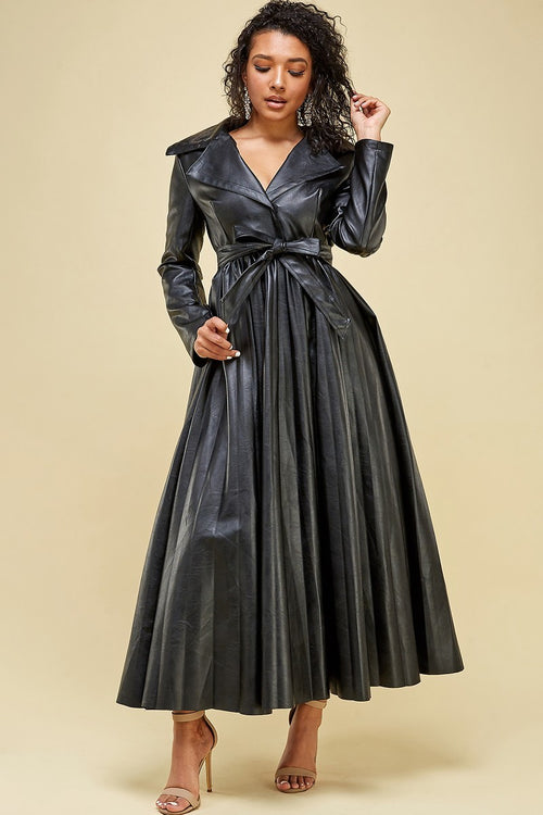 Leather Pleated Maxi Dress
