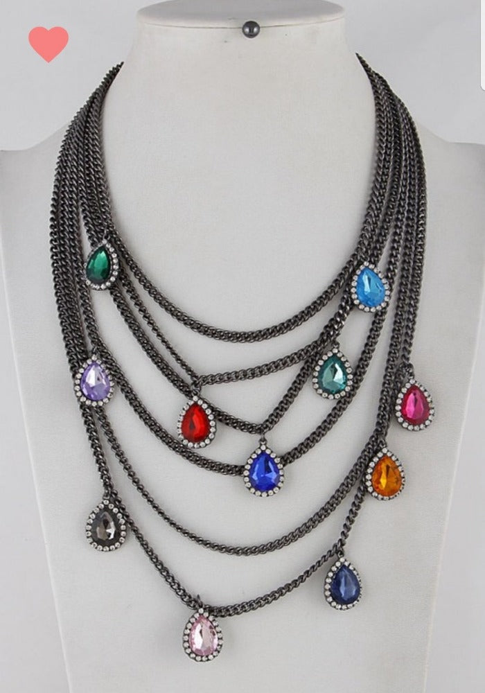 Jewels of Love Gunmetal- Statement Necklace
