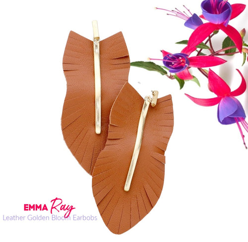 Leather Gold Bloom Earbobs - Camel