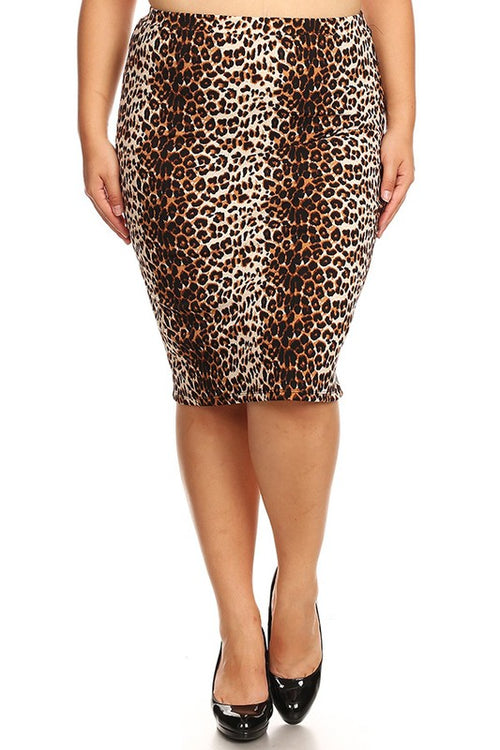 1219-Leapord Pencil Skirt