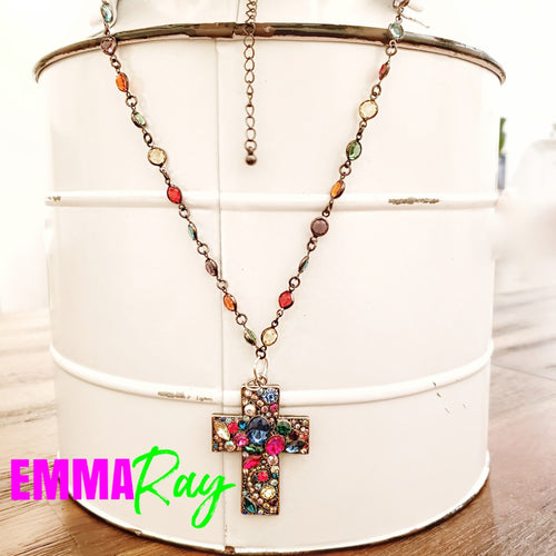 Clothed in Jewels Cross Necklace