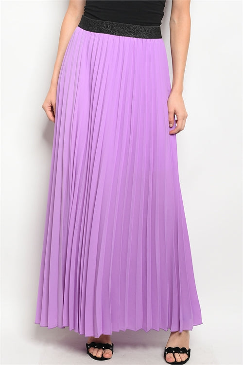 1219-Lavender Pleated Skirt