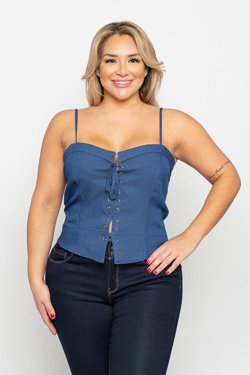 5521-CURVY Denim Bustier Top