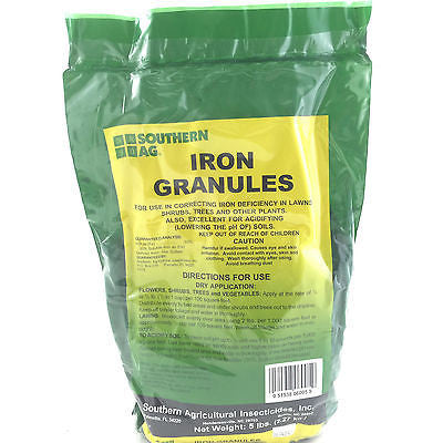Iron Sulfate Granules - for Lawns, Shrubs, and Organic Gardens - OMRI Listed