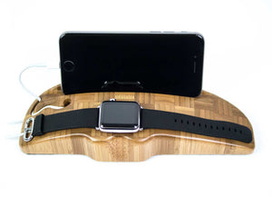 Apple Watch and iPhone charging stand shown here in Bamboo Hero