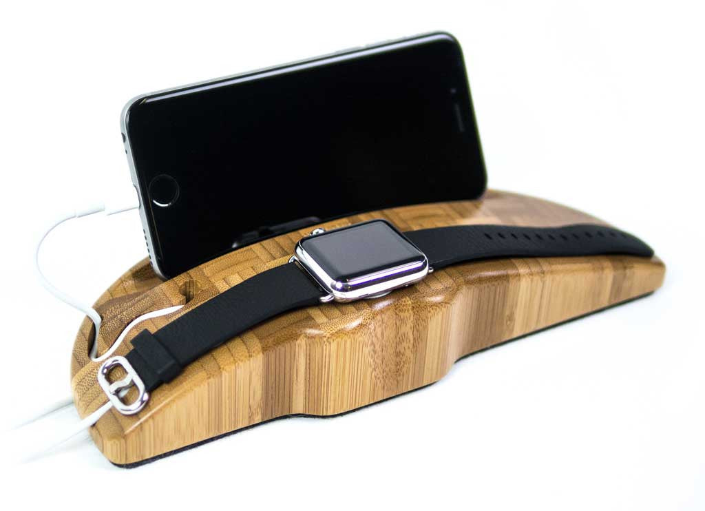 Apple Watch Charging Stand Arc Duo in Bamboo with watch