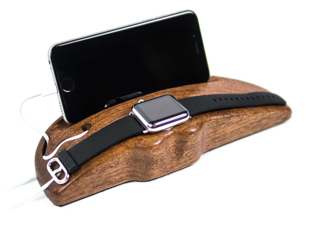 Apple Watch Charging Stand Arc  Duo in Mahogany with watch