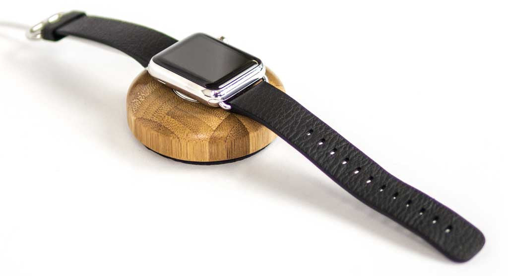 Apple Watch on Bamboo Charging Puck