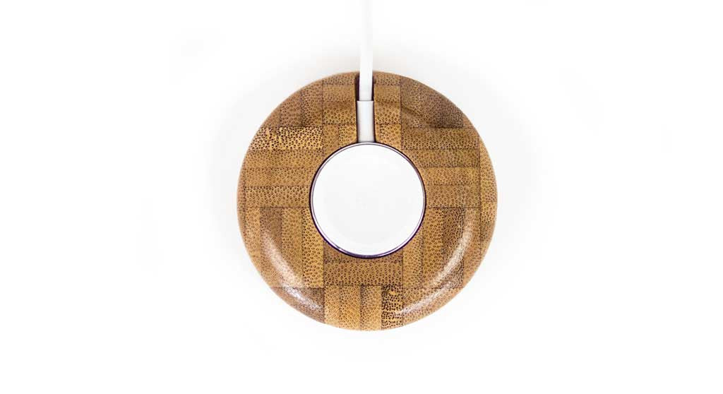 Bamboo Charging Puck for Apple Watch Top