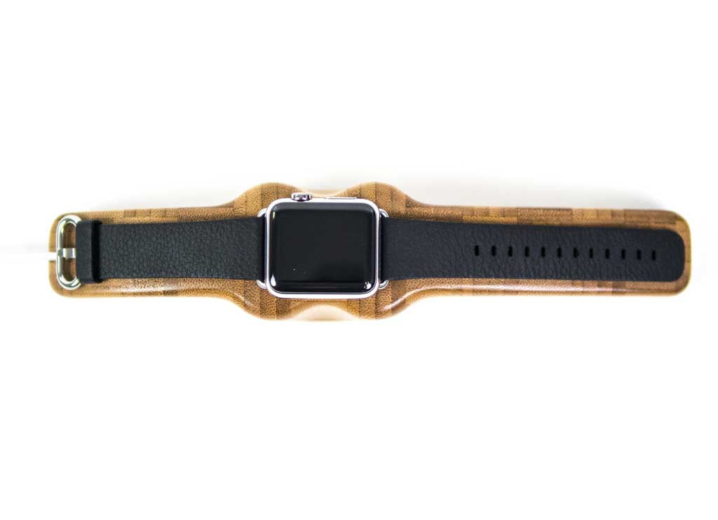 bamboo Arc Solo Apple Watch Charging Stand with watch top view