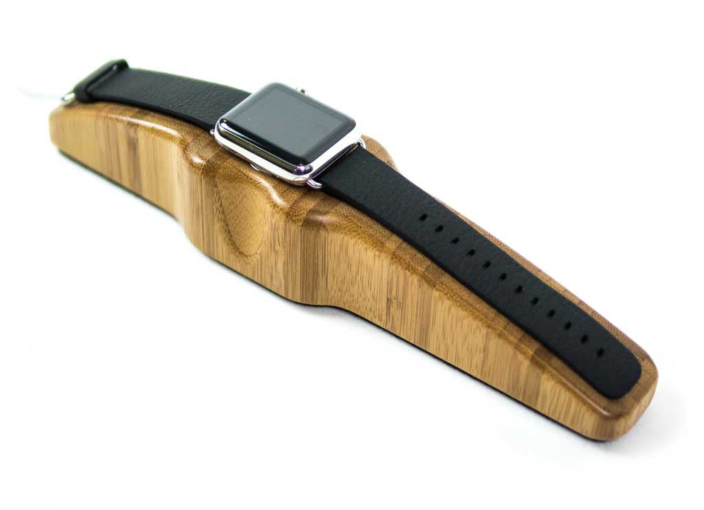 Arc Solo Apple Watch Charging Stand in Bamboo with watch