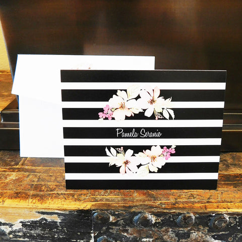 Floral and Stripes Stationery