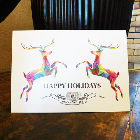 Geometric Reindeers Greeting Cards