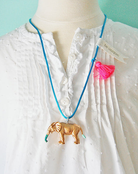 The Trendy Tot Animal Tassel Gold Dipped Necklace