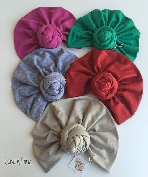Lemon Pink Solid Turbans