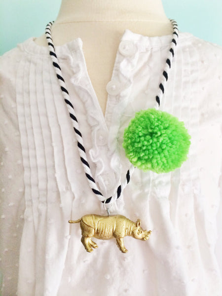 The Trendy Tot Animal Necklace Pom Pom