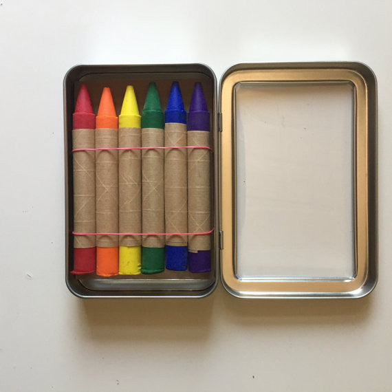 Oversized Traditional Soy and Bees Wax Crayons in Metal Tin