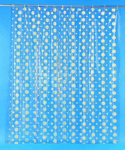 Blue Daisy Retro Shower Curtain