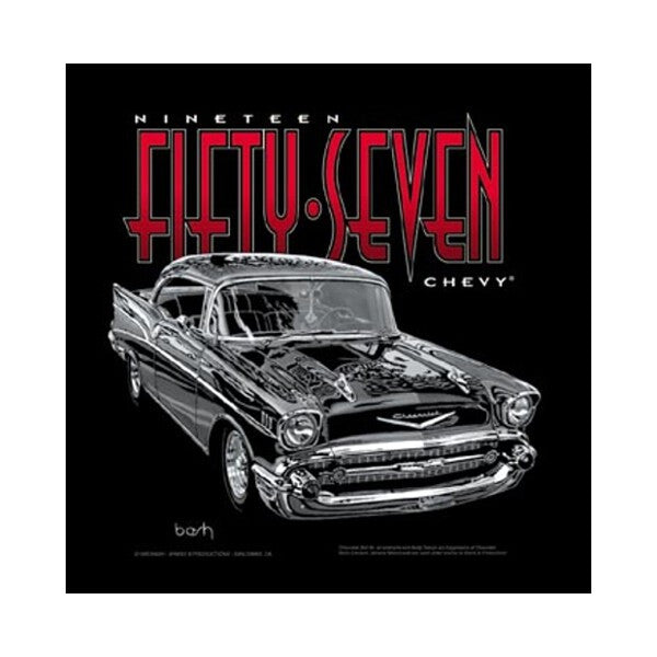 1957 Chevrolet on Black T-Shirt