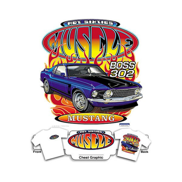 Hot 60's Muscle Boss 302 Mustang on White T-Shirt