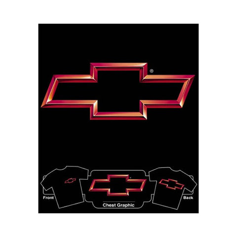 Chevrolet 3D Red Bowtie on Black T-Shirt
